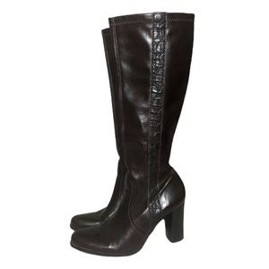 Franco Sarto Brown Faux Leather Boots Size 8 M